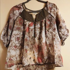 Tan and coral floral print blouse